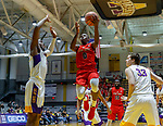 Stony Brook defeats UAlbany  69-60 in the America East Conference tournament quaterfinals at the  SEFCU Arena, Mar. 3, 2018.  Jaron Cornish (#0).