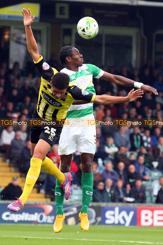 Stephen Arthurworrey of Yeovil Town and Kane Ferdinand of Dagenham during Yeovil Town vs Dagenham and Redbridge, Sky Bet League 2 Football at Huish Park, Yeovil, England on 10/10/2015