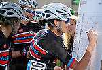 August 10, 2017 - Colorado Springs, Colorado, U.S. -  Palmares rider, Jillian Bearden, signs in prior to the inaugural Colorado Classic cycling race, Colorado Springs, Colorado.