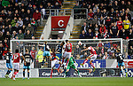 Rotherham 1 Sheffield Wednesday 2, 23/10/2015. New York Stadium, Championship. Second-half goals from Lucas Joao and Fernando Forestieri gave Sheffield Wednesday a derby victory at Rotherham. Rotherham's Danny Collins and Farrend Rawson fail to connect with a cross. Photo by Paul Thompson.