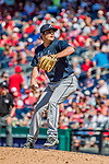 9 July 2017: Atlanta Braves pitcher Luke Jackson on the mound in relief against the Washington Nationals at Nationals Park in Washington, DC. The Nationals defeated the Braves to split their 4-game series. Mandatory Credit: Ed Wolfstein Photo *** RAW (NEF) Image File Available ***
