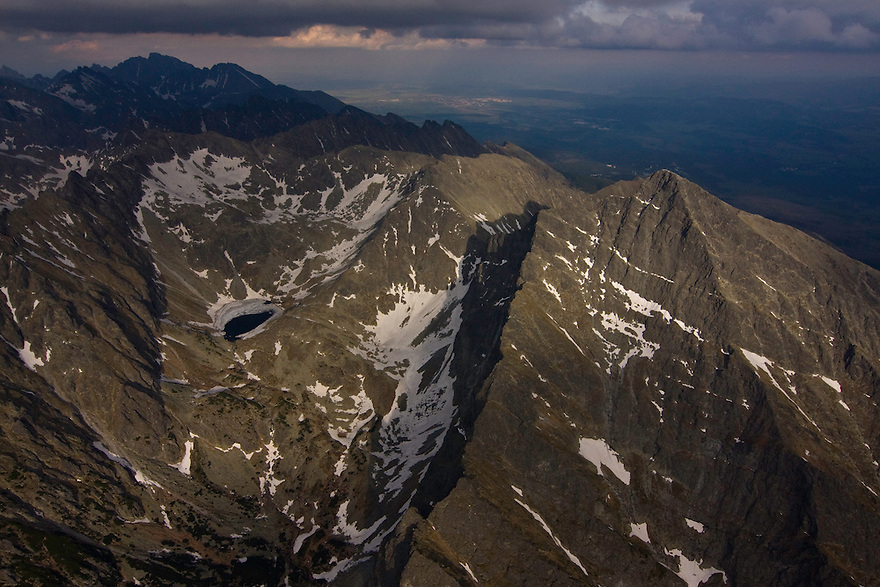 Aerial view of the northern slope of Mount Krivàn (2495m als), national symbol of Slovakia. High Tatras, Slovakia. June 2009. Mission: Ticha