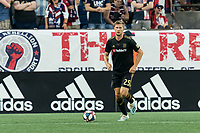 FOXBOROUGH, MA - AUGUST 3: Walker Zimmerman #25 of Los Angeles FC looks to pass during a game between Los Angeles FC and New England Revolution at Gillette Stadium on August 3, 2019 in Foxborough, Massachusetts.