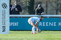Jordan Burns of Bedford Blues scores a try during the Greene King IPA Championship match between London Scottish Football Club and Bedford Blues at Richmond Athletic Ground, Richmond, United Kingdom on 25 March 2017. Photo by David Horn / PRiME Media Images.
