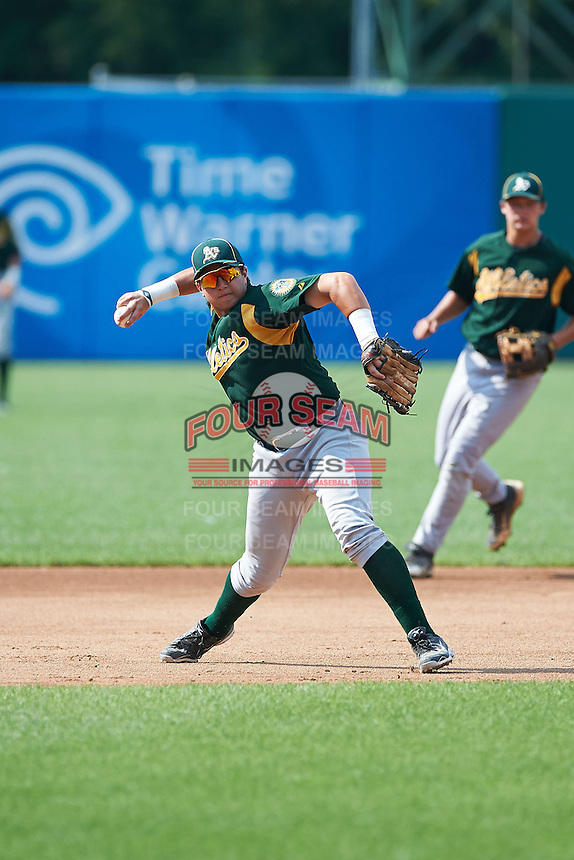 Blake Tiberi #25 of Holy Cross High School in Taloc Mill, Kentucky playing for the Oakland Athletics scout team during the East Coast Pro Showcase at Alliance Bank Stadium on August 4, 2012 in Syracuse, New York.  (Mike Janes/Four Seam Images)