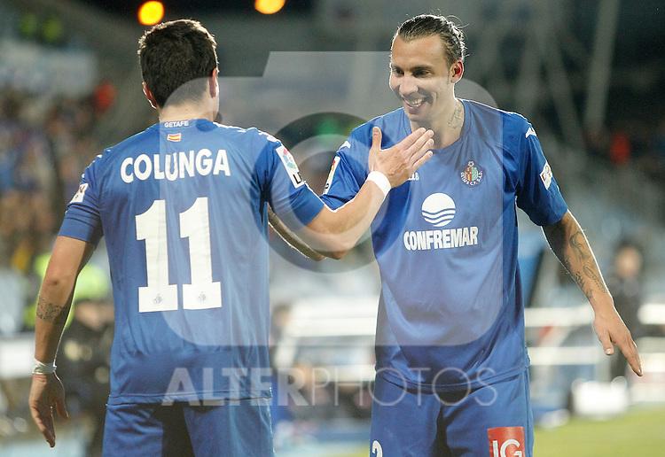 Getafe's Adrian Colunga celebrates with Alexis Ruano during La Liga match. February 01, 2013. (ALTERPHOTOS/Alvaro Hernandez)