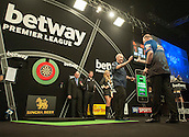 09.04.2015. Sheffield, England. Betway Premier League Darts. Matchday 10.  Phil Taylor [ENG] shakes hands with Raymond van Barneveld [NED] before their  match.