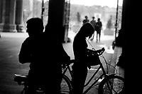 Bicycle racers in the Rijksmuseum in Amsterdam (Netherlands, 24/07/2003)