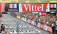 Picture by Simon Wilkinson/SWpix.com - 06/07/2014 - Cycling - Tour de France 2014: Stage 2, York to Sheffield - Yorkshire, England - ProTeam Astana's Vincenzo Nibali celebrates winning stage two in Sheffield. COPYRIGHT WARNING : THIS IMAGE IS RIGHTS MANAGED AND THE COPYRIGHT MAY SIT WITH A THIRD PARTY PLEASE CONTACT simon@swpix.com BEFORE DOWNLOAD AND OR USE