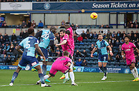 Scott Harrison of Hartlepool United & Aaron Pierre of Wycombe Wanderers miss the ball  during the Sky Bet League 2 match between Wycombe Wanderers and Hartlepool United at Adams Park, High Wycombe, England on 26 November 2016. Photo by Andy Rowland.