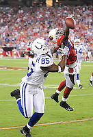 Sept. 27, 2009; Glendale, AZ, USA; Indianapolis Colts wide receiver (85) Pierre Garcon catches a pass for a touchdown in the second quarter against the Arizona Cardinals at University of Phoenix Stadium. Mandatory Credit: Mark J. Rebilas-
