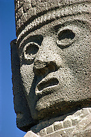 Head of Atlantean warrior figure at ruins of Tula, Toltec capital, Mexico..