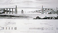 The Menai Suspension Bridge is a suspension bridge to carry road traffic between the island of Anglesey and the mainland of Wales. The bridge was designed by Thomas Telford and completed in 1826 Wrought iron and rock. Historic photograph with detailed drawing.