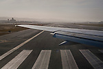 Turning onto the runway for takeoff from San Francisco International Airport (SFO), California