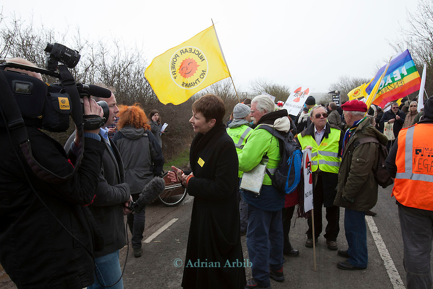 MPO Caroline Lucas being interviewed at a march against the building of  Hinkley C power station, Somerset  and the UK government's choice of Nuclear power as the mainstay of England's power supply.