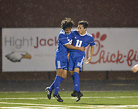 NWA Democrat-Gazette/BEN GOFF @NWABENGOFF<br /> Johan Rodriguez (24) congratulates Rogers teammate Jessie Ramirez (11) after he scored a goal Friday, March 17, 2017, during the game against Rogers Heritage in Gates Stadium at Rogers Heritage.