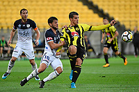Wellington Phoenix&rsquo; Andrija Kaluderovic and Melbourne Victory&rsquo;s Matias Sanchez in action during the A League - Wellington Phoenix v Melbourne Victory FC at Westpac Stadium, Wellington, New Zealand on Wednesday 10 January 2018. <br /> Photo by Masanori Udagawa. <br /> www.photowellington.photoshelter.com