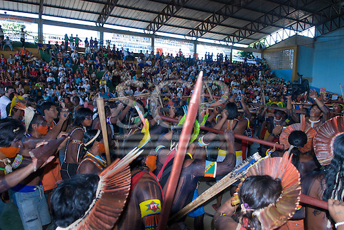 Altamira, Brazil. Encontro Xingu protest meeting about the proposed Belo Monte hydroeletric dam and other dams on the Xingu river and its tributaries. Kayapo and other ethnic groups rallying in the hall of the gymnasium.