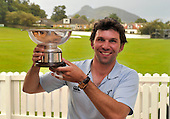 Fraser Watts - Scottish International player and Capt of Carlton CC (from Edinburgh) - pictured with the Scottish National Cricket League Premiership Trophy - after it was confirmed that his side were 2011 Premiership Champions late on Saturday night when results (specifically Forfarshire lost to Arbroath) went their way with one game of the season to go - Picture by Donald MacLeod - 27.08.11 - 07702 319 738 - www.donald-macleod.com