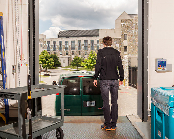 July 1, 2016. Blacksburg, Virginia. <br />  Marc Edwards waits for a van just back from Flint, MI to arrive on the loading dock of one of the Virginia Tech labs he oversees. The water testing team arrived back late the night before and must unpack all the supplies from the 2 week trip. <br /> Marc Edwards is a civil engineering/environmental engineer and the Charles P. Lunsford Professor of Civil and Environmental Engineering at Virginia Tech. He is an expert in water quality and corrosion, and his work in Washington DC  and in Flint, Michigan helped to expose high levels of lead contamination in the water supplies of those two cities, triggering investigations into the cause of the pollution.