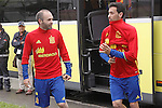 Spain's Andres Iniesta (l) and Sergio Busquets during preparing training stage to Euro 2016. May 30,2016.(ALTERPHOTOS/Acero)
