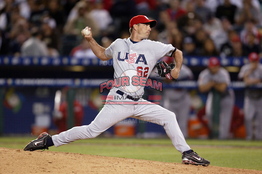 Scot Shields of the USA during the World Baseball Championships at Angel Stadium in Anaheim,California on March 16, 2006. Photo by Larry Goren/Four Seam Images