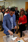 Spain's Prime Minister and Socialist Workers' Party (PSOE) candidate Pedro Sanchez casts his vote during Spain's general election in Pozuelo de Alarcon, outside Madrid, Spain, April 28, 2019. Alterphotos / David Lamas
