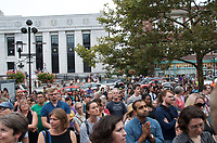 People gather in support of Charlottesville and against white nationalist neo Nazi anti semitic fascist violence in Cambridge MA 8.14.17