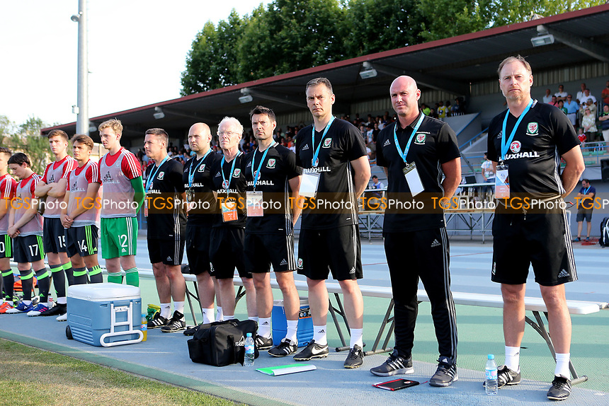 Rob Page, Wales U20 Head Coach (Second from right) awaits the National Anthems alongside his coaching team and substitutes during France Under-20 vs Wales Under-20, Toulon Tournament Football at Stade de Lattre-de-Tassigny on 30th May 2017