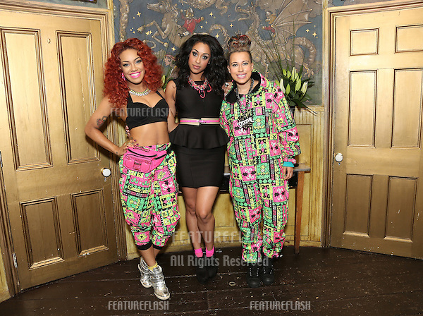 Alexandra Buggs, Karis Anderson, and Courtney Rumbold.Stooshe and Alcatel one touch photocall at The Box.London, England. 18/07/2012 Picture by: Henry Harris / Featureflash....