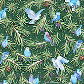 Randy, GIFT WRAPS, GESCHENKPAPIER, PAPEL DE REGALO, paintings+++++Wintering-Birds-Pattern-on-Green,USRW212,#GP# Christmas napkins