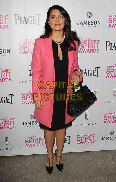 Salma Hayek.2013 Film Independent Filmmaker Grant And Spirit Awards Nominees Brunch held at BOA Steakhouse, West Hollywood, California, USA..January 12th, 2013.full length pink black coat jacket dress bag purse .CAP/ADM/KB.©Kevan Brooks/AdMedia/Capital Pictures.