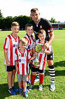 Lincoln City's Matt Rhead is presented with inaugural The City United Trophy<br /> <br /> Photographer Chris Vaughan/CameraSport<br /> <br /> Football - Pre-Season Friendly - Lincoln United v Lincoln City - Saturday 8th July 2017 - Sun Hat Villas Stadium - Lincoln<br /> <br /> World Copyright &copy; 2017 CameraSport. All rights reserved. 43 Linden Ave. Countesthorpe. Leicester. England. LE8 5PG - Tel: +44 (0) 116 277 4147 - admin@camerasport.com - www.camerasport.com