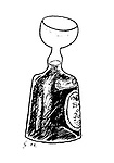 Alcohoffnung. (A bottle of port with a glass at its opening)