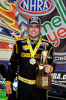Sept. 1, 2014; Clermont, IN, USA; NHRA top fuel dragster driver Richie Crampton celebrating after winning the US Nationals at Lucas Oil Raceway. Mandatory Credit: Mark J. Rebilas-USA TODAY Sports