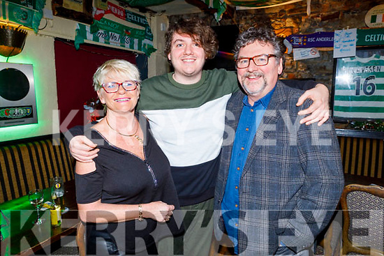 Zac Buggy from Tralee originally, who flew in from London to be on stage at the Greyhound Bar - Christmas Cracker - Stand-up Comedy Show on Saturday night pictured with his mom and dad Ann and John Buggy