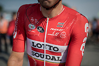 Kris Boeckmans (BEL/Lotto-Soudal) after a hot day on the bike<br /> <br /> 70th Halle Ingooigem 2017 (1.1)<br /> 1 Day Race: Halle &gt; Ingooigem (201km)