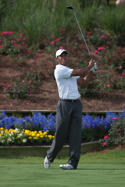 PONTE VEDRA BEACH, FL - MAY 6: Tiger Woods tees off on the 18th hole  during his practice round on Wednesday, May 6, 2009 for the Players Championship, beginning on Thursday, at TPC Sawgrass in Ponte Vedra Beach, Florida.