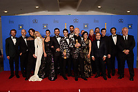 After winning the Golden Globe for BEST TELEVISION LIMITED SERIES OR MOTION PICTURE MADE FOR TELEVISION for &quot;The Assassination of Gianni Versace: American Crime Story&quot; (FX Networks), Tom Rob Smith, Daniel Minahan, Cody Fern, Judith Light, Penelope Cruz, Edgar Ramirez, Darren Criss, Ricky Martin, Ryan Murphy, Alexis Martin Wodall, Lou Eyrich, Jon Jon Briones, Finn Wittrock, Brad Falchuk, and Larry Karaszewski pose with the award backstage in the press room at the 76th Annual Golden Globe Awards at the Beverly Hilton in Beverly Hills, CA on Sunday, January 6, 2019.<br /> *Editorial Use Only*<br /> CAP/PLF/HFPA<br /> Image supplied by Capital Pictures