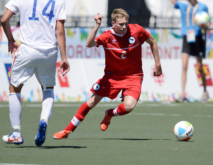 Toronto, ON - Aug 9 2015 - Liam Stanley during Canada vs United States in Football 7-a-side at the Parapan Am Fields during the Toronto 2015 Parapan American Games  (Photo: Matthew Murnaghan/Canadian Paralympic Committee)