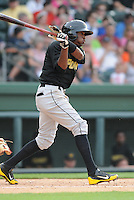 Infielder Alen Hanson (3) of the West Virginia Power, a Pittsburgh Pirates affiliate, in a game against the Greenville Drive on May 19, 2012, at Fluor Field at the West End in Greenville, South Carolina. Greenville won 7-3. (Tom Priddy/Four Seam Images)