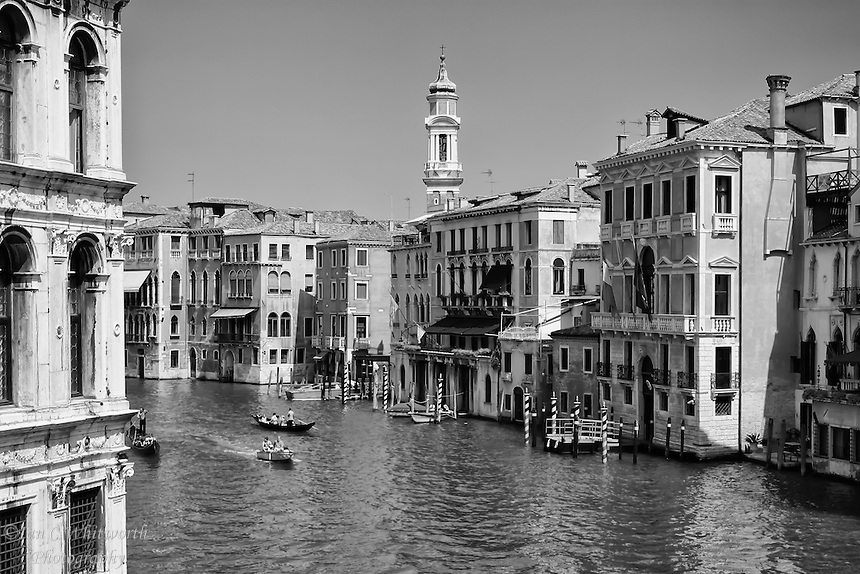 A scenic view of the Grande Canal in Venice in black & white.