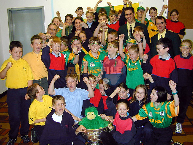 Students from Whitecross National School, Julianstown  with the Sam Maguire Cup on Friday..Picture Paul Mohan Newsfile