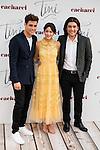 """Jorge Blanco, Martina Stoessel and Adrian Salzedo attends to the premiere of the film """"Tini. El gran cambio de Violetta"""" at Callao Cinema in Madrid. April 27, 2016. (ALTERPHOTOS/Borja B.Hojas)"""