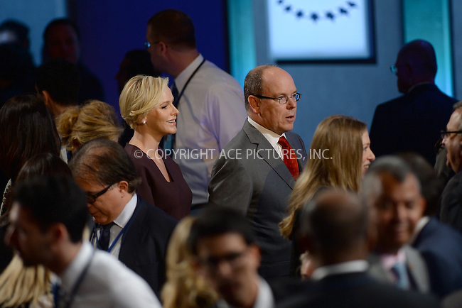 WWW.ACEPIXS.COM<br /> September 22, 2014 New York City<br /> <br /> Prince Albert of Monaco and his wife Princess Charlene during the Clinton Global Initiative on September 22, 2014 in New York City.<br /> <br /> <br /> By Line: Kristin Callahan/ACE Pictures<br /> ACE Pictures, Inc.<br /> tel: 646 769 0430<br /> Email: info@acepixs.com<br /> www.acepixs.com