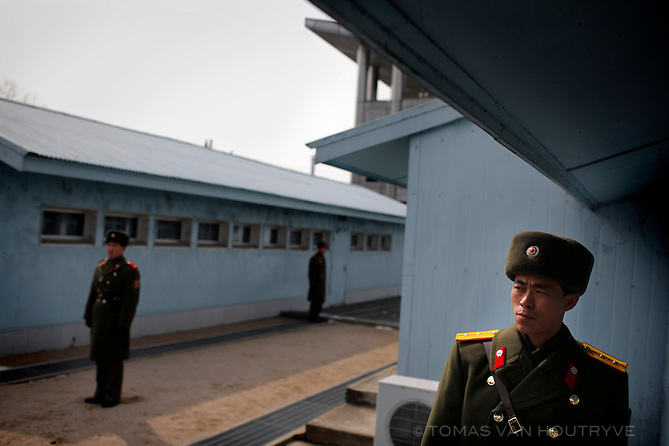 North Korea army soldiers guard the border between North and South Korea inside the demilitarized zone (DMZ) in Panmunjong, North Korea (DPRK) on 28 February 2008.