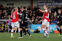 Vivianne Miedema of Arsenal scores the third goal for her team and celebrates during Arsenal Women vs Bristol City Women, Barclays FA Women's Super League Football at Meadow Park on 1st December 2019