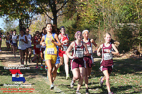Villa Duchesne's trio of Elise Marker, Hannah Deines, and Cece Stock trail the unpictured early leader 500 meters into the Class 3 District 2 race.
