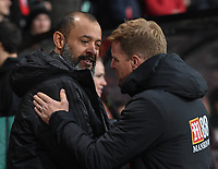Wolverhampton Wanderers manager Nuno Espirito Santo (left) and Bournemouth manager Eddie Howe (right) <br /> <br /> Photographer David Horton/CameraSport<br /> <br /> The Premier League - Bournemouth v Wolverhampton Wanderers - Saturday 23rd November 2019 - Vitality Stadium - Bournemouth<br /> <br /> World Copyright © 2019 CameraSport. All rights reserved. 43 Linden Ave. Countesthorpe. Leicester. England. LE8 5PG - Tel: +44 (0) 116 277 4147 - admin@camerasport.com - www.camerasport.com