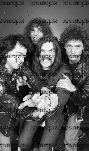 MOTORHEAD - L-R: Phil Campbell, Wurzel, Lemmy, Pete Gill - Photosession in London - 1985.  Photo credit: George Bodnar Archive/IconicPix